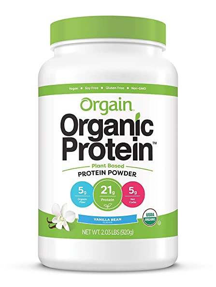 Orgain Organic Plant Based Protein Powder, Vanilla Bean – Vegan, Low Net Carbs, Non Dairy, Gluten Free, Lactose Free, No Sugar Added, Soy Free, Kosher, Non-GMO, 2.03 Pound Packaging May Vary