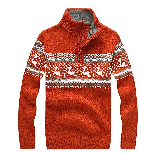 - Mens Christmas Reindeer Snow Snowflakes Sweater Xmas Shirt Knit Top
