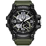 Men's Sports Digital Analog Stylish Watch Outdoor Waterproof Dual Electronic Quartz Movement with Backlight