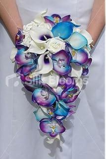 Amazon.com: Cascade Wedding Bouquet - Turquoise Purple and ...