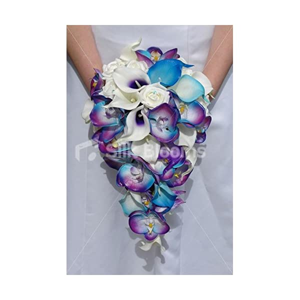 Silk Blooms Ltd Galaxy Blue Orchid Rose Calla Lily Tropical Wedding Bouquet
