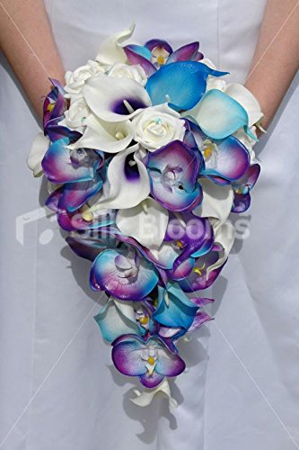 Galaxy Blue Orchid Rose Calla Lily Tropical Wedding - Bouquet Lily Orchid Calla