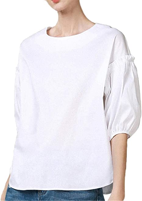 Camisetas de Manga Corta Camisetas de Mujer Manga Farol Camiseta de Estilo Blanco_S: Amazon.es: Ropa y accesorios