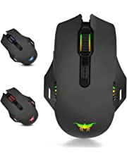 Mobestech 1PC USB LED Light W200 8 Keys 2400DPI 2.4GHz Optical Mouse Wireless and Wired Gaming Mouse Working PC Game Playing