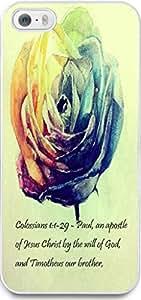Dseason Iphone 5S case Case New Slim Hard Unique Design Christian Quotes Colorful roses