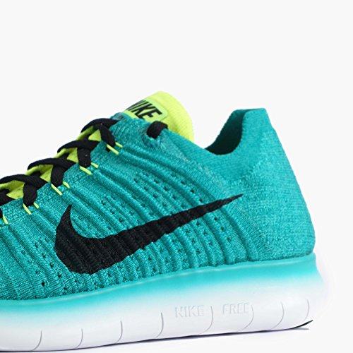 Nike Mens Free Rn Flyknit, Clear Jade / Black-volt-rio Verde Acqua, Taglia 8