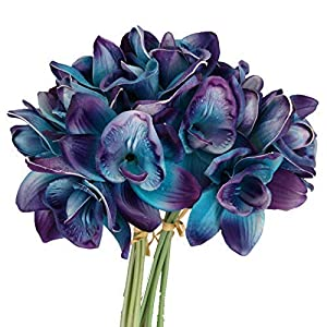 Lily Garden Artificial Flowers Purple Turquoise Orchid Stem Real Touch Flowers Set of 12 Stems 50