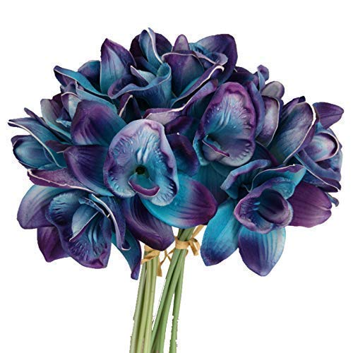 Lily-Garden-Artificial-Flowers-Purple-Turquoise-Orchid-Stem-Real-Touch-Flowers-Set-of-12-Stems