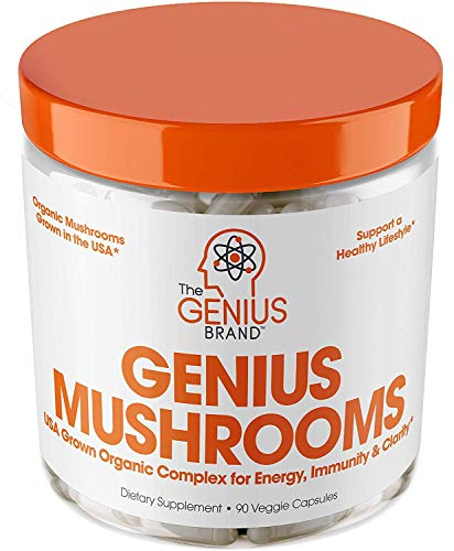 Genius Mushroom - Lions Mane, Cordyceps and Reishi - Immune System Booster & Nootropic Brain Supplement - Wellness Formula for Natural Energy, Stress Relief, Memory & Liver Support, 90 Veggie ()