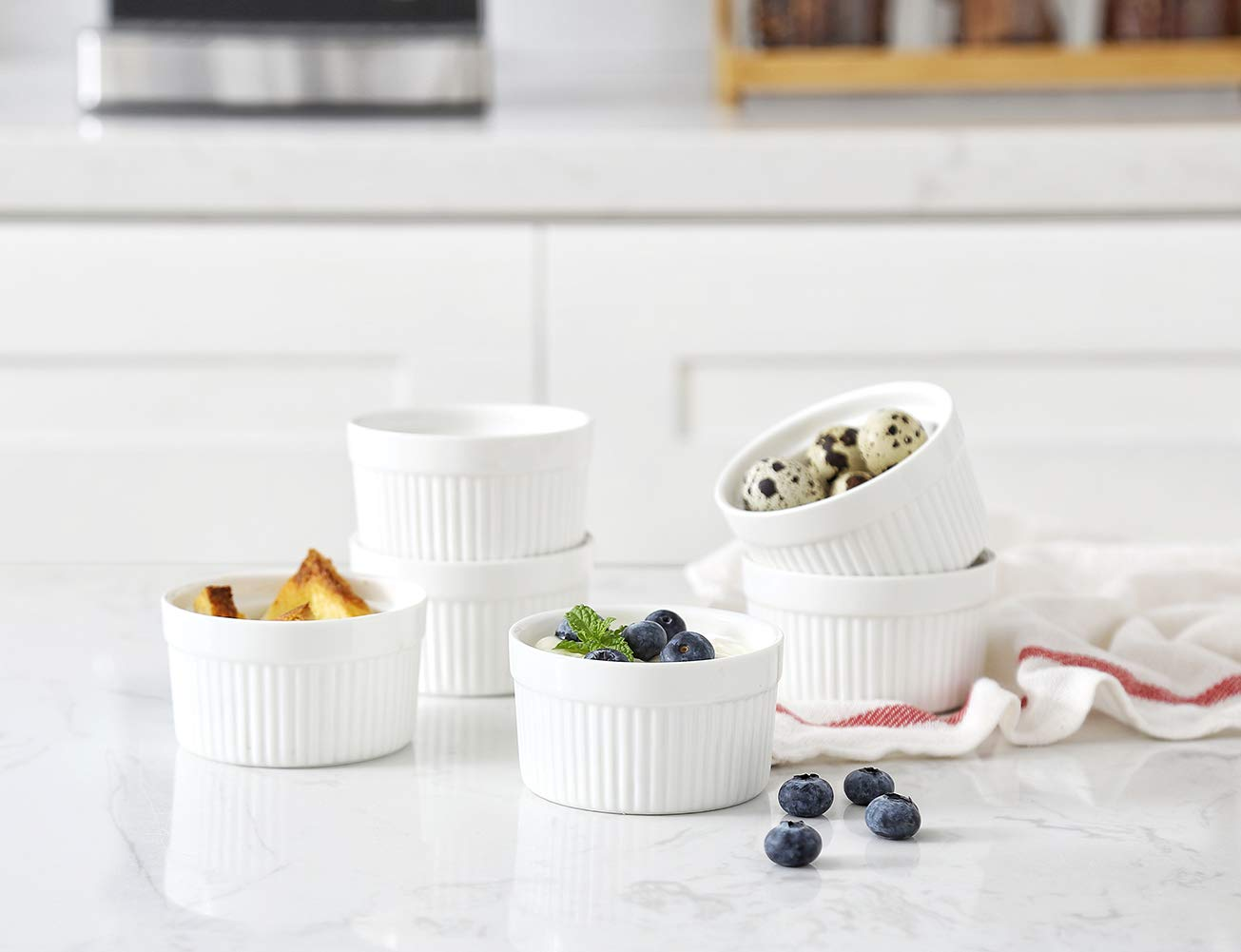 6 oz Ramekin Set of 8 Serving Bowl for Souffle Creme Brulee and Dipping Sauces Porcelain White by LAUCHUH (Image #6)