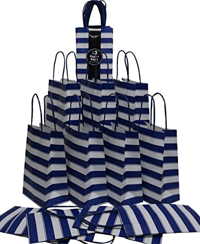 (Medium Kraft Gift Bag, Color Stripe Design with matching handles, 2 packs bulk set of 24 bags (Blue & White, Petite 5.25