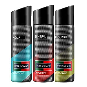 Peter England Aqua, Sensual & Flourish Deodorant, 150 ml (Pack of 3)