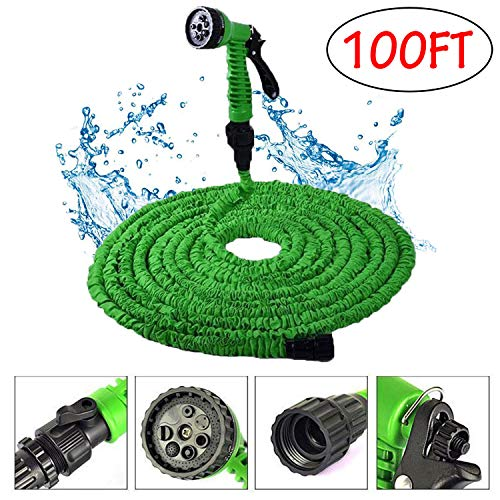Garden Hose-Expandable Water Hose-100FT Lightweight Triple Layer Latex Core & Extra Strength Fabric Water Pipe with 3/4″ Solid Fittings-Flexible Expanding Hose for Lawn Car Watering Plants Pet Washing