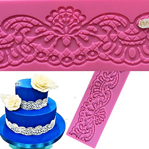 Anyana sugar edible flower lace cake silicone Embossing Mat Texture fondant impression lace mat decorating mold gum paste cupcake topper tool icing candy imprint baking moulds sugarcraft (Wedding Borders Flower)