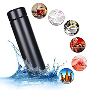 17 oz Stainless Steel Water Bottle -Thermal Flask Double Wall Vacuum Hot Cold Insulated Bottle,Travel mug for Outdoor Sport Camping Hiking. (Black)