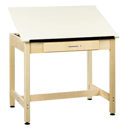 Diversified Woodcrafts DT-1A30 UV Finish Solid Maple Wood Art Drafting Table with 1 Piece Top and Large Center Drawer, Plastic Laminate Top, 36 Width x 30 Height x 24 Depth