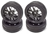 rc tires and wheels - Apex RC Products 1/10 On-Road 12mm Black Mesh Wheels V Tread Rubber Tires (Set of 4) #5002