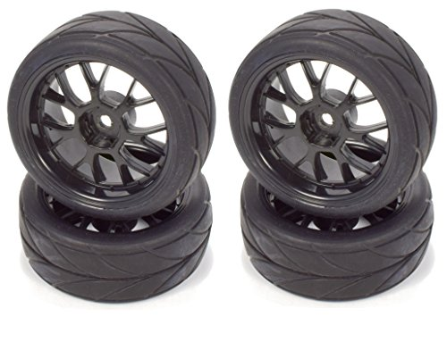 Apex RC Products 1/10 On-Road 12mm Black Mesh Wheels V Tread Rubber Tires (Set of 4) #5002 ()