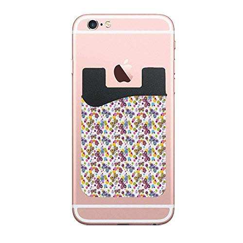 (Butterfly,Vibrant Flora Patterned and Polka Dotted Background with Inspired Animals Designer 2 PCS Ultra Slim Self-Adhesive Universal Credit Card Holder Wallet for All Smart Mobile Cell)