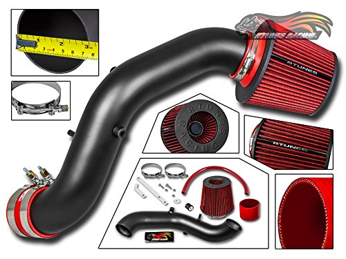 (Velocity Concepts MATT BLACK Short Ram Air Intake Kit + RED Filter For Acura 02-06 RSX Type-S ONLY)