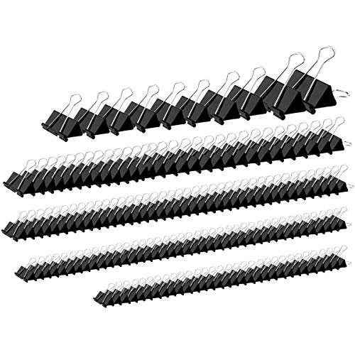 YSeaWolf 152 Pack Binder Clips Assorted Sizes, 6 Different Sizes of Multipurpose, not Thin, not Easy to Break, Spring Tension Suitable Paper Clips, Paper Clamps - Sturdy Container Included(Black)