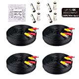 Tonton 4K 8MP 5MP 2MP 100Ft 30 Meters Pre-Made All-in-One BNC Cables for Security Camera System and CCTV Bullet Cameras or Dome Cameras,with 2 Female Connectors (Black 4-Pack)