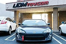 iJDMTOY (1) Track Racing Style Tow Hook w/ Red Towing Strap For Scion FR-S Toyota 86 Subaru BRZ Impreza WRX STI, etc