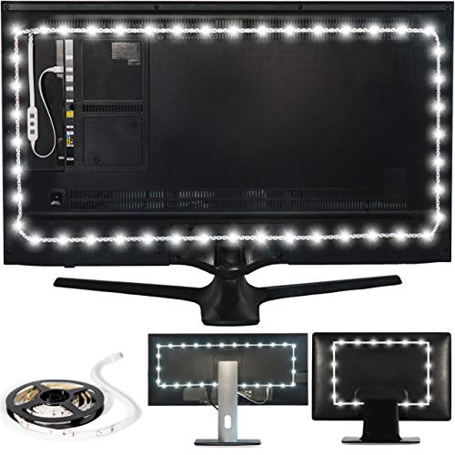 "Luminoodle Professional Bias Lighting for HDTV, 15 Colors + 6500K True White LED TV Backlight, Adhesive RGB+W Strip Lights with Wireless Remote, Dimmer - Pro - XX-Large (60""-80"" TV)"