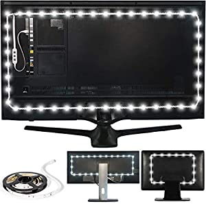 "Luminoodle Bias Lighting, Backlight Kit for Monitors up to 24"" - USB LED Light Strip - Computer Monitor Backlight - True White Adhesive Strip - White - Small (<24"" TV) 10"