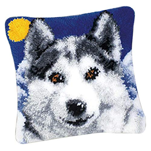 Baosity Funny Latch Hook Kits Cushion Pillow Case Making for Adults Beginners Kids 17x17'' - Wolf ()