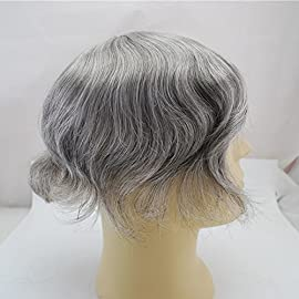 Dark Brown Mixed Grey Hair 60% Toupee for Men Human Hair Replacement in Stock 360