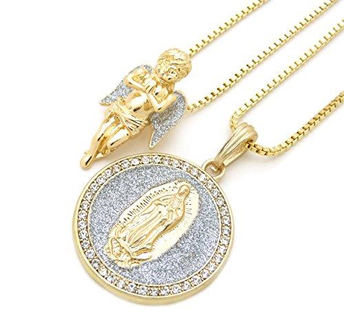 (Gold Silver Tone Praying Angel, Virgin Mary Pendant 24