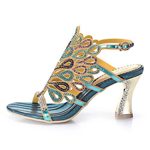 Heels Shoes Women's Sandals Wedding Doris Blue Floral Slippers Fashion Summer Rhinestone Evening Peacock Glitter Dress BzpdvwIdxq