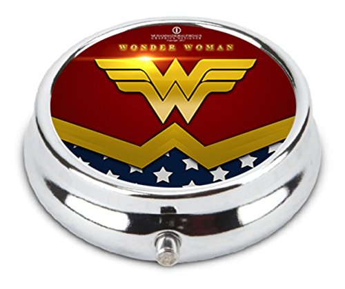 OceanArt Custom Wonder Woman Unique Silver Tone Round Pill Box Medicine Tablet Organizer or Coin Purse
