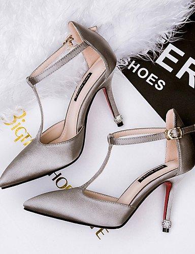 LFNLYX Zapatos de mujer-Tacón Stiletto-Tacones / Puntiagudos / Punta Cerrada-Sandalias-Vestido-Seda-Negro / Gris gray