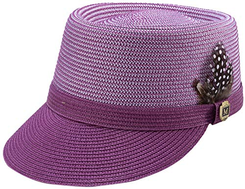 MONTIQUE Braided Legionnaire Designer Two Tone Hat with Feather and Pin H67 (Medium, Dusty Rose)