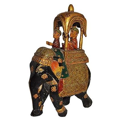 Amazon Com Shrinath Handicrafts Wooden Antique Elephant Figure