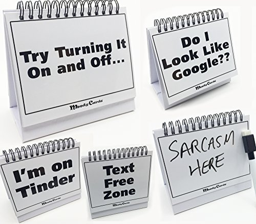 Moodycards – Funny Office Gifts – Over 30 Different Mood and Practical Flip-Over Messages – includes Erasable Pen and blank boards to write your own.