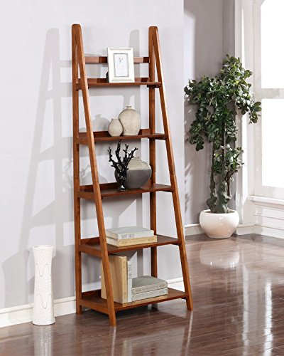 Ladder Bookcase Add Modern Touch In Your Home Made of Rubberwood MDF and Birch Veneers in Rich Brown Color Sleek Design by eCom Fortune