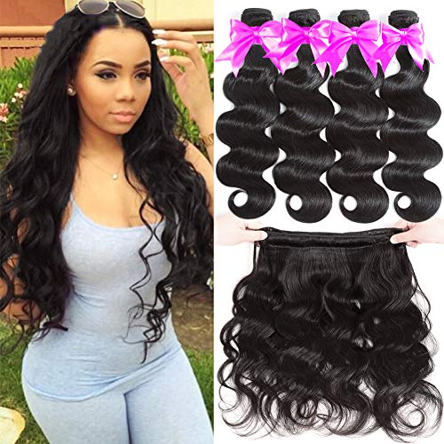 Flady Brazilian Virgin Hair Body Wave 10A Brazilian Hair Weaves 4 Bundles Virgin Human Hair Weaving Natural Black Color 95-100g/bundle (16 18 20 22inch)