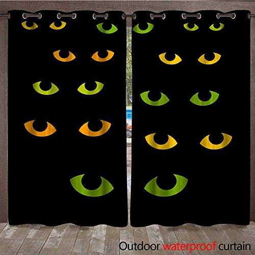(Window Curtain Cat Eyes Halloween Illustration Waterproof CurtainW120 x)