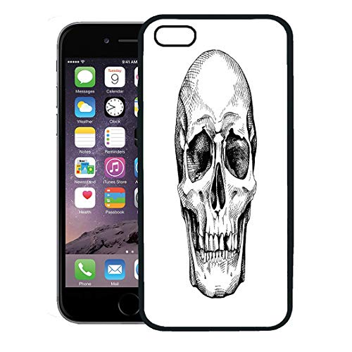 (Semtomn Phone Case for iPhone 8 Plus case Cover,Drawing Frontal of The Skull Scary Sketch Anatomy Black Bone,Rubber Border Protective Case,Black)