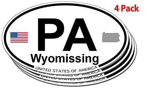 Wyomissing, Pennsylvania Oval Sticker - 4 pack
