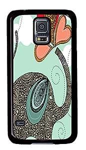 Diy Fashion Case for Samsung Galaxy S5,Black Plastic Case Shell for Samsung Galaxy S5 i9600 with Abstract Elephant