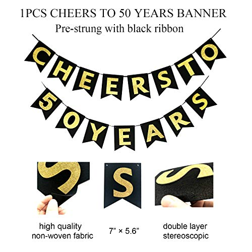 50th Birthday Decorations for Women or Men by Homond, 50th Bday Decorations, 50th Wedding Anniversary Decorations, Cheers to 50 Years Banner, 50 Birthday Decor, 50 Years Old Party Favors Supplies