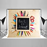 Kate 7x5ft(2.2x1.5m) Back to School Photography Backdrops for Photographers Cotton No Wrinkle Reused Colorful Stationery with Blackboard Photo Backdrop HJ04339