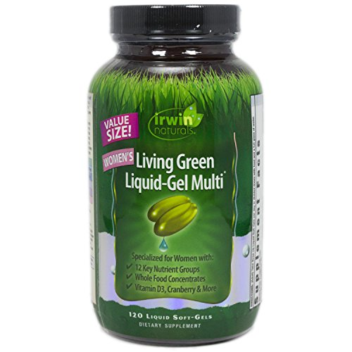 Irwin Naturals Living Green Multi Liquid-Gel for Women, 240 Count (Pack of 2, 120 in each)