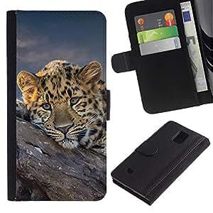 Billetera de Cuero Caso Titular de la tarjeta Carcasa Funda para Samsung Galaxy Note 4 SM-N910 / African Cheetah Big Cat / STRONG