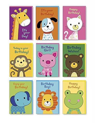 Assorted Handmade Animal Felt Embellished Birthday Cards Box Set 9