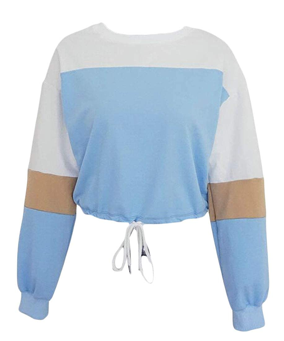 YYear Womens Casual Contrast Color Fashion Drawstring Pullover Sweatshirts Tops